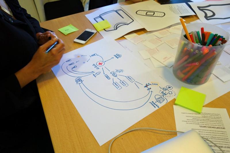 Participants working on a scenario about precariat